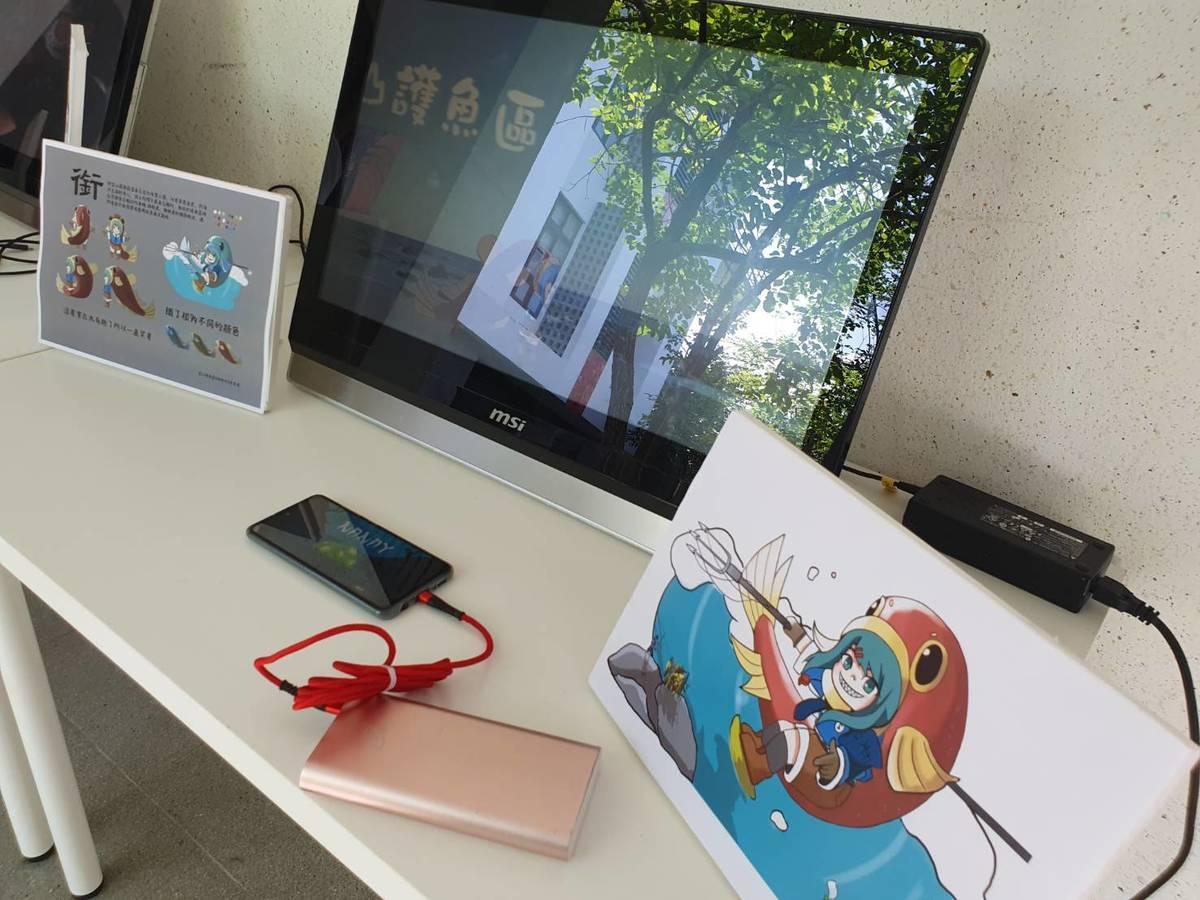 數媒系學生至富山實務調查,導入數位媒體,設計手機app互動遊戲、在地宣傳影片以及形象公仔,重新詮釋並推廣富山護漁區的樣貌與特色。